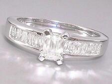Genuine Diamond 1.00ct Emerald Cut H Colour VS Clarity in 18ct White Gold Ring