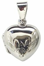 Family LOCKET FLORAL HEART 925 Sterling SILVER 24mm Drop : Pendant Flower Photo