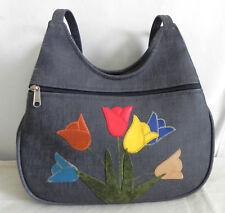 Vtg Shoulder Hobo Bag Vinyl Floral Patching Many Pockets 810fefc7188