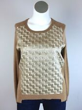 NWT $165 Josie Lrg Cashmere Camel Brown Gold Zig Zag Tartan Plaid Knit Sweater