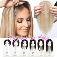 Clip in Women Virgin Human Hair Silk Mono Lace Frontal Topper Hairpiece Toupee M