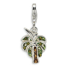 Swarovski Element Palm Tree Charm .925 Sterling Silver Click On Amore La Vita
