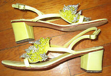 Vintage Amalfi b 00006000 eaded sandals yellow leather, Italy 8.5 N
