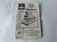 VINTAGE Wolf Electric tools Supasander Instructions
