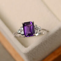 1.75 Ct Real Diamond Emerald Cut Amethyst Ring 14K Real White Gold Size 5 6 7 8