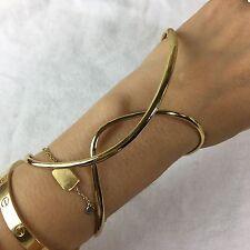 NEW Alexis Bittar Liquid Gold Plate Geometric Hinged Mod Cuff Bracelet $195