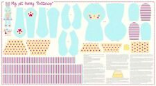 Riley Blake Sweet Home Buttercup Bunny BLUE Panel 100% Cotton Fabric Make a Toy