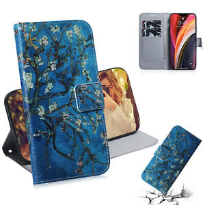 Apricot Blossom Fashion Flower Women 3D Flip Wallet Case Cover For Various Phone