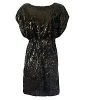 BLACK SEQUIN 80s/90s Y2K Style Evening Party Dress Wetlook Shiny Women's UK 10