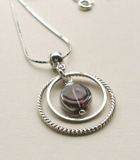 Pendant Necklace Purple Electroplated Glass Bead Twin Silver Ring KCJ1409