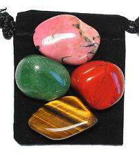 GOAL ACHIEVEMENT Tumbled Crystal Healing Set  = 4 Stones + Pouch + Description
