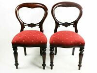 A Pair of Antique Mahogany Balloon Back Chairs [5756 B]
