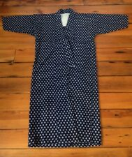 """Vintage Indigo Traditional Japanese Kimono Yukata Blue White Cotton Woven 46"""""""