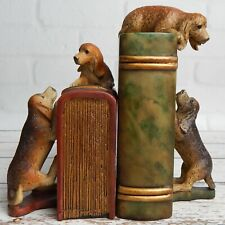 (2) Playful Dog Hound Puppy Bookends Resin Home Office Vet Dog Decor
