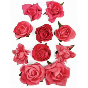 Kaisercraft F663 Paper Flowers Bloom 1-Inch To 1.5-Inch Hot Pink 10-Pack