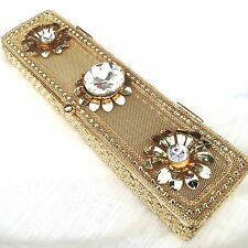 Metal Watch Gift Box Gold Mesh Gem Jewellery Sweet Present Container 20x5x3cm