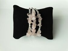 Rose Quartz Gemstone and Silver Chip Bead Cuff Bracelet Set of 3 Gift for Women