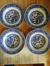 "4 Blue Willow Rimmed Soup/Salad Bowls 9"" Unmarked. NICE."