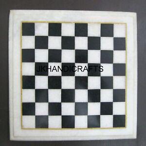 "9"" Marble Unique Handmade Black & White Marble Chess Board Living Room Decor"
