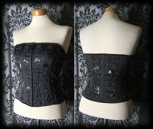 Gothic Black Beaded Hook Up CRIME OF PASSION Fitted Boned Corset 12 14 Victorian