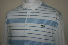 Lacoste White/Sky Blue Striped Polo Shirt Size 7/XL Rare Classic Mod Casuals Top
