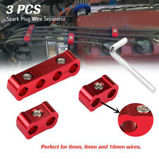 Red 3pcs Spark Plug Wires Separator Divider Engine Clamp Kit For 8MM/ 9MM/ 10MM