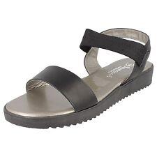 Savannah F10377 Ladies Black Synthetic Elasticated Strap Summer Casual Sandals UK 4