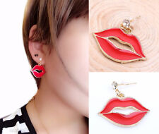 Sexy Lipstick Red HOT Design Lips Dangle Earrings Piercing Stud Accessories