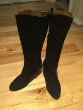 Womens R M Williams Tall Black Seude Leather Boots Size 8 1/2