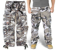 SURPLUS AIRBORNE TROUSERS URBAN CAMO RAW VINTAGE CARGO GREY COMBAT PANTS ARMY