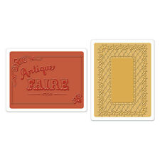 SIZZIX TEXTURED IMPRESSIONS Embossing Folders ANTIQUE FAIRE, LACE SET  658470  *