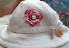 NEW GYMBOREE HAT with HANDMADE IRISH ROSE 0 3 6 MONTHS BABY GIRLS WHITE TERRY