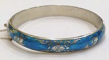 VINTAGE/ANTIQUE SIAM STERLING TURQUOISE NIELLO HINGED BRACELET~SAFETY CHAIN