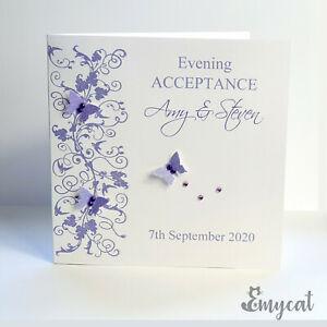 Personalised Handmade Wedding Evening Acceptance Card Lilac **Free UK P&P**