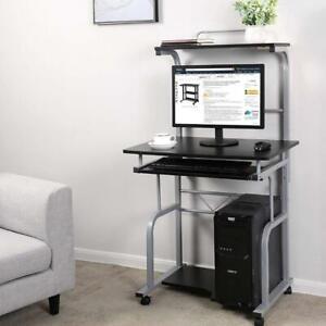 Computer Desk Laptop PC Table Study Workstation W/ Printer Shelf stand on Wheels