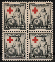 US #702 2c Red Cross  MH,OG Block of 4 Stamps