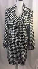 Body Central Womens Houndstooth Coat Jacket Medium M Black White Full Length