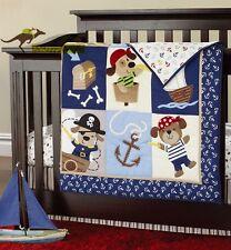 New Baby Boy 7 Pieces Pirate Doggy Theme Cotton Nursery Bedding Crib Set