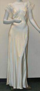 $1250 NEW Jenny Packham Lace Cap Sleeve Long Slip Gown Dress Ivory  SILK M