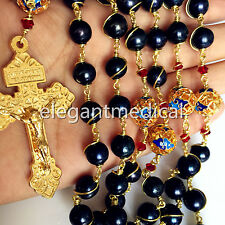 CATHOLIC Gold Wire Wrap AAA Black Tahitian Pearl Bead Rosary Cross NECKLACE BOX