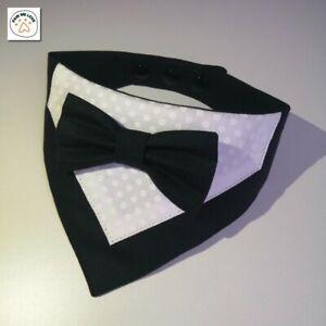 Handmade Tuxedo Bow Tie Pet Bandana Special Occasions Wedding Party size: XS-XL