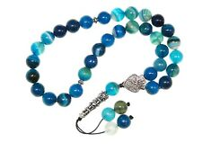 004BA - Prayer Worry Beads Tasbih 10mm Blue Agate Gemstone Beads Handmade