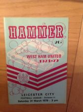 West Ham United v Leicester City 31st March 1979 League 2 Programme Used