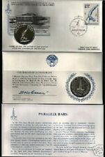 RUSSIA 1980 MOSCOW OLYMPIC PARALLEL BAR SILVER COIN + FDC STAMP CURRENCY USSR