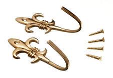 NEW CURTAIN TIE HOLD BACK HOOKS 80MM FLEUR DE LYS BRASS PLUS SCREWS ( 2 pairs )