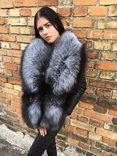Real 100% silver fox full fur lenght collar.King size.Saga Furs.
