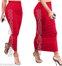 Womens Plain Slim Fit Party Casual Club CelebrityTube Maxi Skirts Dress RED (M)