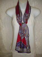 Oscar de la Renta Silk Scarf Paisley Magenta Red Silver Yellow Purple 0421