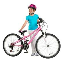 Girls 24 Inch Pink Bike Teen Children Bicycle Front Suspension 18 Gears Bell