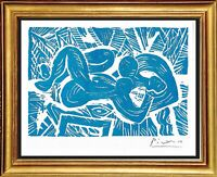 """Pablo Picasso Hand Signed Ltd Edition Print """"Reclining Nude"""" with/COA (unframed)"""